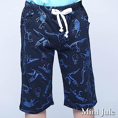 Mini Jule 童裝 短褲 框線恐龍印花鬆緊短褲(藍)