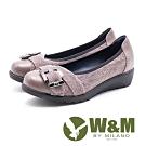 W&M 方釦裝飾蕾絲拼接厚底娃娃鞋 女鞋 - 灰(另有黑)