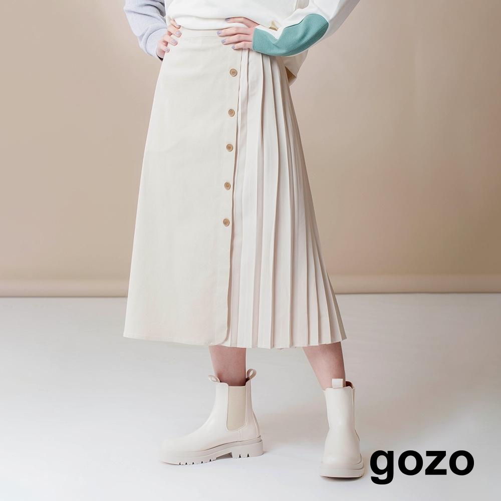gozo-拼接排釦百褶裙(兩色)