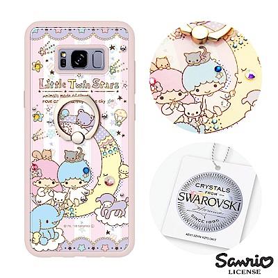 三麗鷗 Samsung S8+ 施華彩鑽減震指環扣手機殼-晚安雙子星