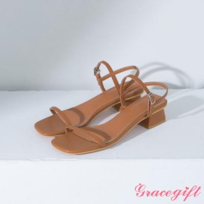 Grace gift-方頭一字繫踝中跟涼鞋 棕
