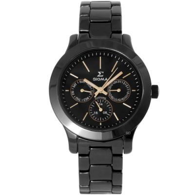 SIGMA 都會簡約三眼時尚手錶-黑x玫瑰金/36mm