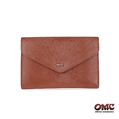 OMC 進口小牛皮-馬尾紋壓扣9卡透明窗零錢中夾-咖啡