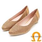 GEORGE 喬治皮鞋 幾何圖型鉚釘尖頭低跟鞋-金色