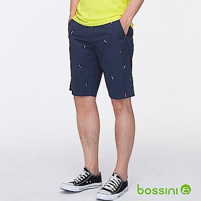 bossini男裝-印花時尚短褲02海軍藍
