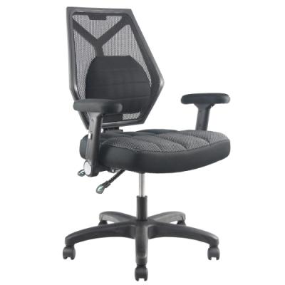 DR. AIR 升降椅背人體工學氣墊辦公網椅-黑