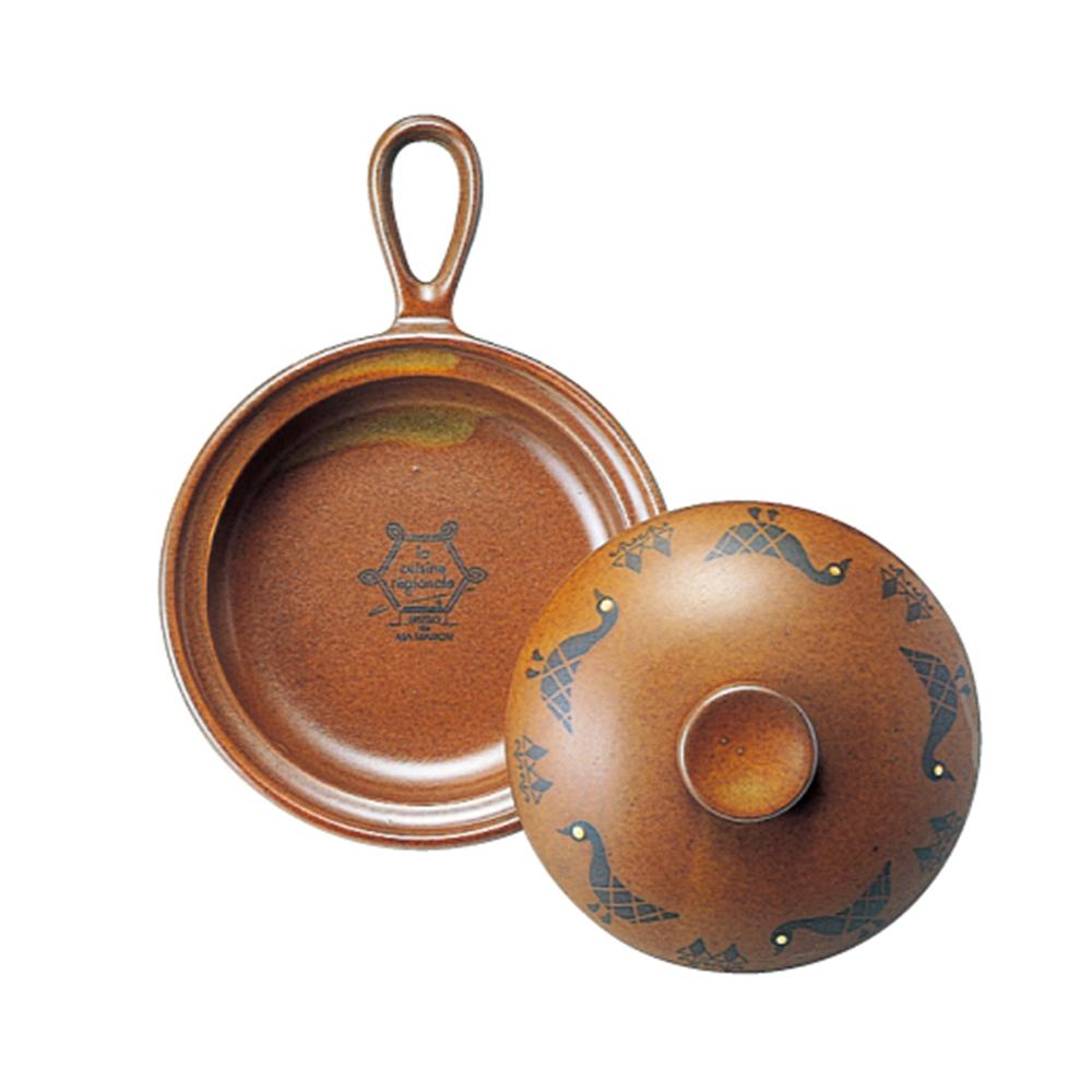 日本Meister Hand COOKPAN 單柄陶製烤盤 (含蓋) 棕色鴨