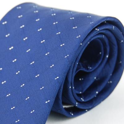 Alpaca 深藍格紋雙亮點領帶