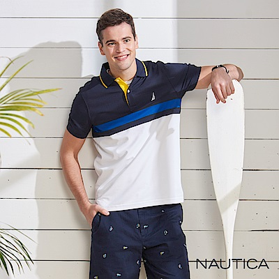 Nautica 合身款吸濕快乾短袖POLO衫-藍白