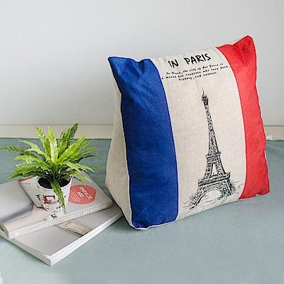 【收納職人】Zakka日系雜貨風棉麻織紋舒壓三角抱枕/靠枕/腿枕(巴黎鐵塔)