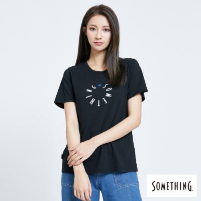 SOMETHING 圓形LOGO 短袖T恤-女-黑色