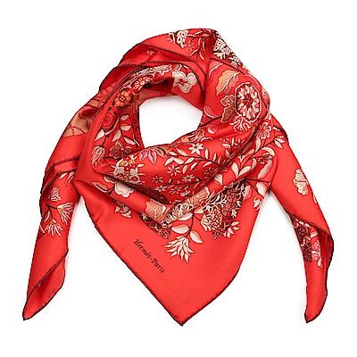 HERMES 蝴蝶與花 真絲披肩方型絲巾-紅色