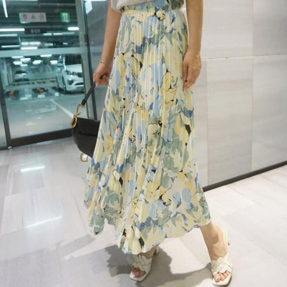 La Belleza時尚減齡甜美花朵水墨油畫半身裙鬆緊腰百褶裙印花長裙(有內襯)