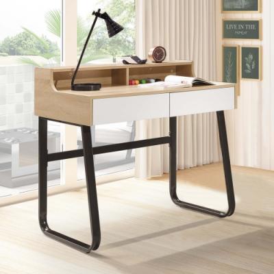 Boden-黛恩3尺二抽書桌/工作桌(黑色腳座)-90x58x88cm