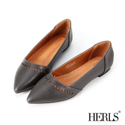 HERLS平底鞋-內真皮方塊鏤空尖頭鞋平底鞋-深灰色