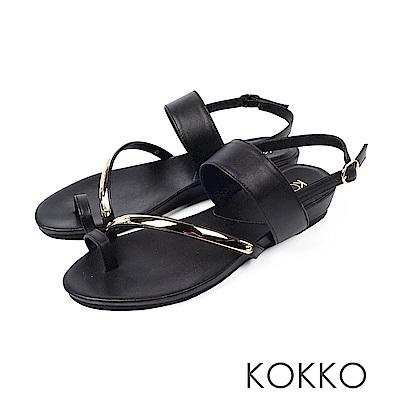 KOKKO - 極度舒適女孩指環扣牛皮平底涼拖鞋-經典黑