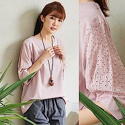 慢 生活 設計短袖棉麻上衣-粉紅