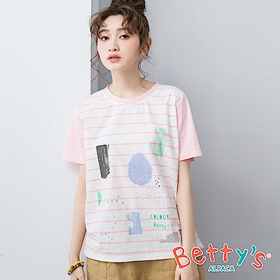 betty's貝蒂思 圓領幾何印花條紋T-shirt(淺粉)