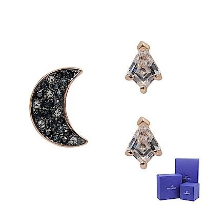 SWAROVSKI 施華洛世奇 SYMBOLIC璀璨水晶神秘夜月玫瑰金耳環