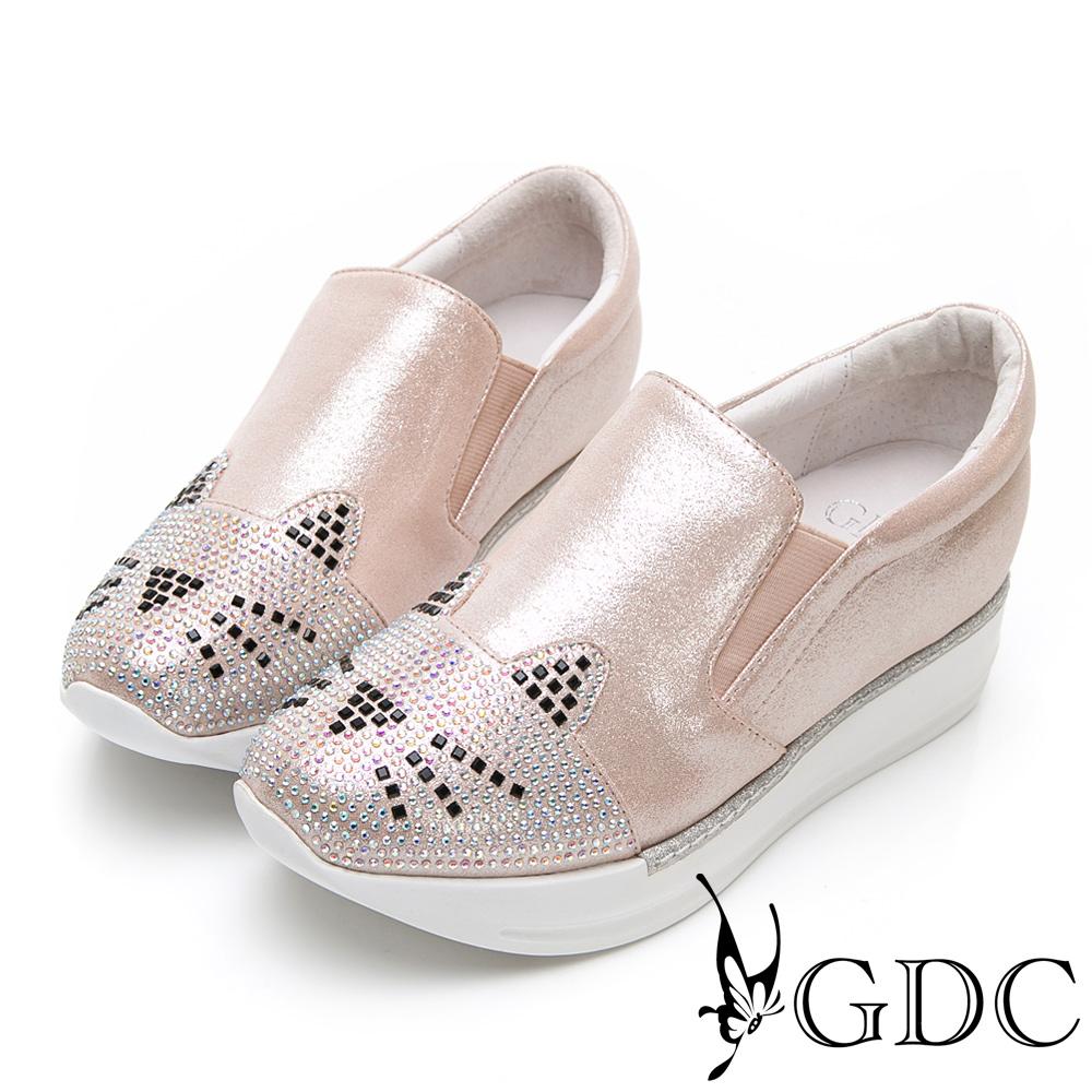 GDC-俏皮貓咪水鑽厚底舒適休閒鞋-香檳色