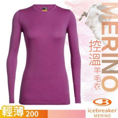 Icebreaker 女 200 Oasis 美麗諾羊毛輕薄款長袖圓領上衣_桃紅