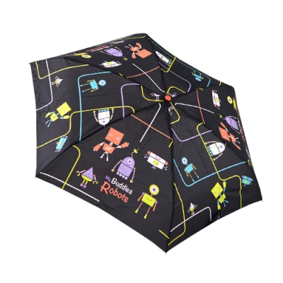 RAINSTORY 機器人(黑)抗UV手開迷你口袋傘