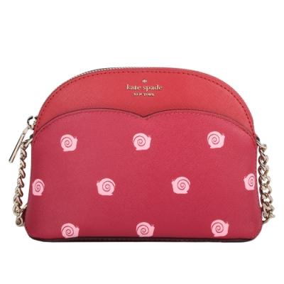 Kate Spade Payton Small Dome防刮皮革蝸牛貝殼包(小款)-玫瑰紅色