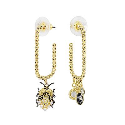 SWAROVSKI 施華洛世奇 Magnetic璀璨水晶珍珠甲蟲造型金色耳環
