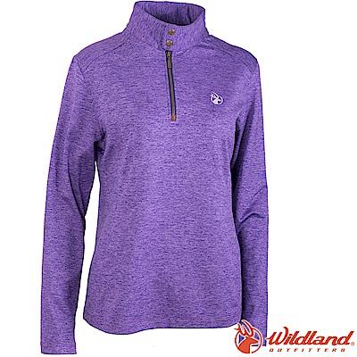 Wildland 荒野 0A62601-58葡萄紫 女彈性針織雙色保暖上衣