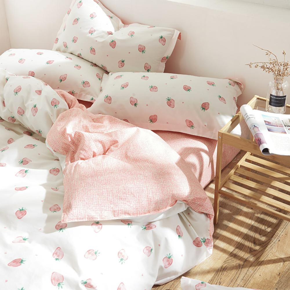 BUNNY LIFE 雙人-小草莓-小日子純棉床包被套組