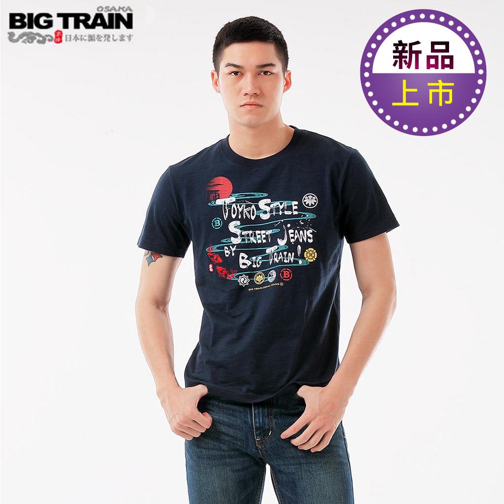 BigTrain加大和風家徽圓領短袖T男款-男-深藍