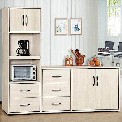 綠活居 伊瑟琳7.1尺餐櫃組合(高低櫃組合)-212.6x40.6x184.7cm免組