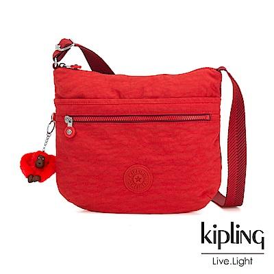 Kipling 珊瑚紅素面前拉鍊側背包-ARTO