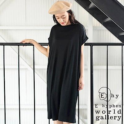E hyphen 背打摺剪裁法式袖設計連身洋裝