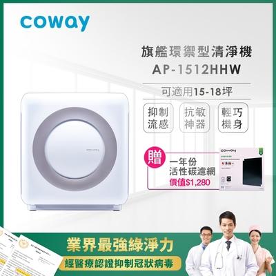 Coway 經認證抑制冠狀病毒 旗艦環禦型空氣清淨機 AP-1512HHW 送活性碳濾網2片
