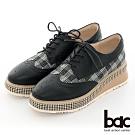 【bac】復古風潮小方頭異材質雕花格紋厚底德比鞋-黑色