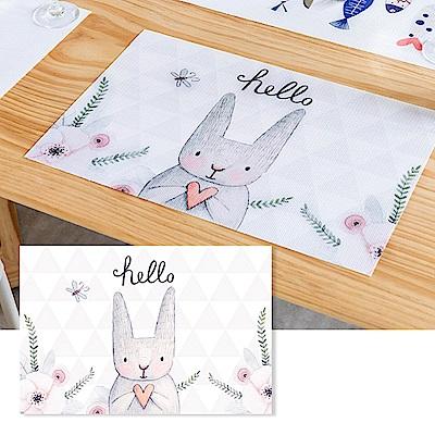 半島良品 升級防水北歐風PVC餐桌隔熱墊- 夢幻兔子