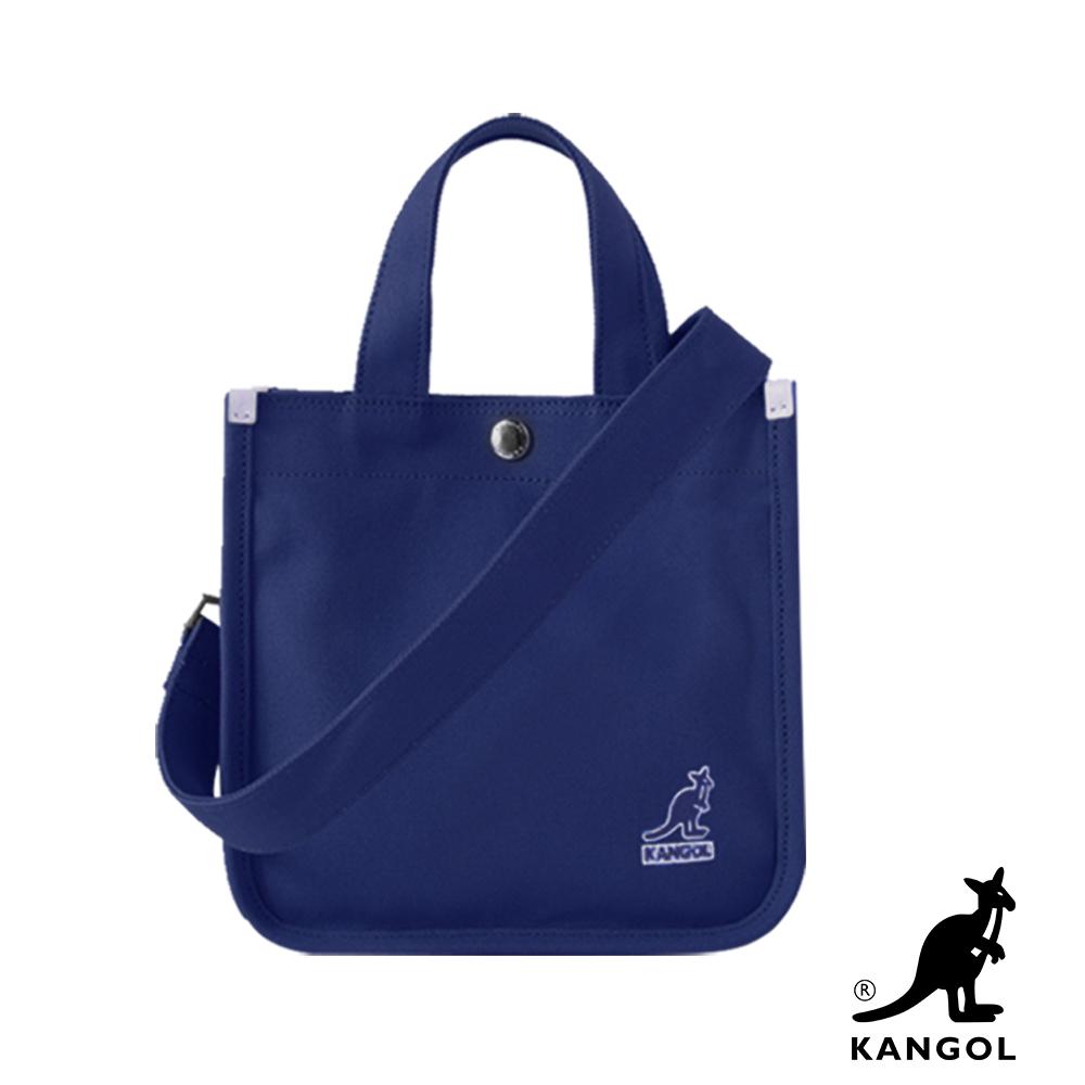 福利品 KANGOL 韓版極簡玩色-MINI帆布斜背小方包-深藍