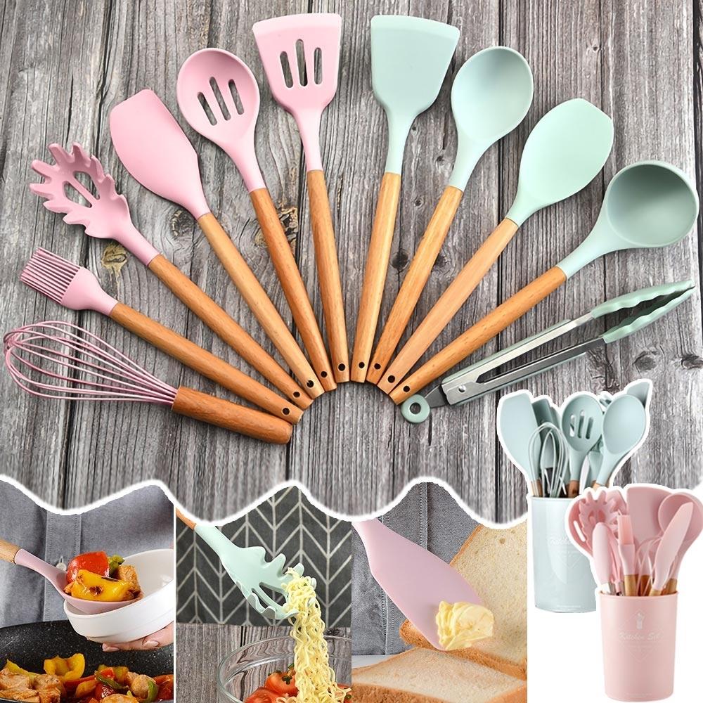 EZlife 日式櫸木矽膠廚具12件組(贈送製丸勺)