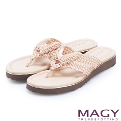 MAGY 造型編織水鑽夾腳拖鞋