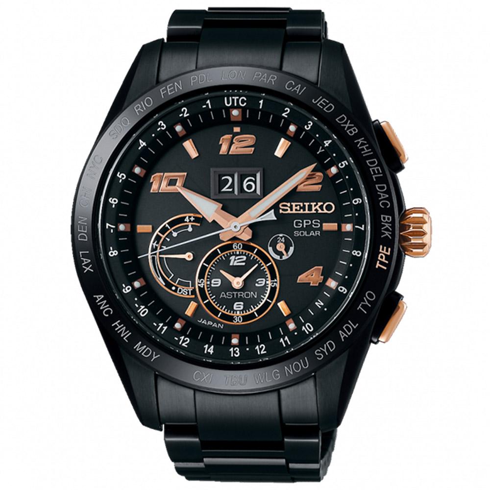 SEIKO 精工ASTRON雙時區GPS定位鈦金錶SSE163J1-黑/45mm @ Y!購物
