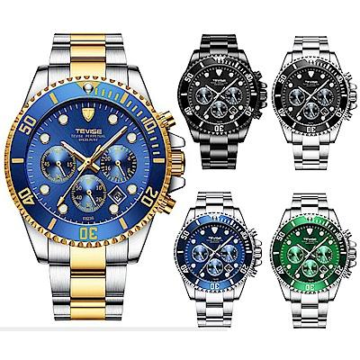 美國熊日本機心 真三眼計時 日期顯示 水鬼風格腕錶