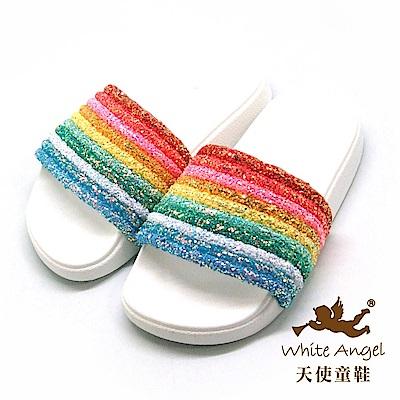 天使童鞋 萌萌天使愛彩虹(中童)D950-白