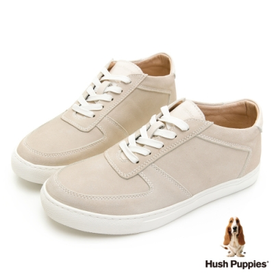 Hush Puppies Bull Terrier舒適皮革休閒鞋-米白