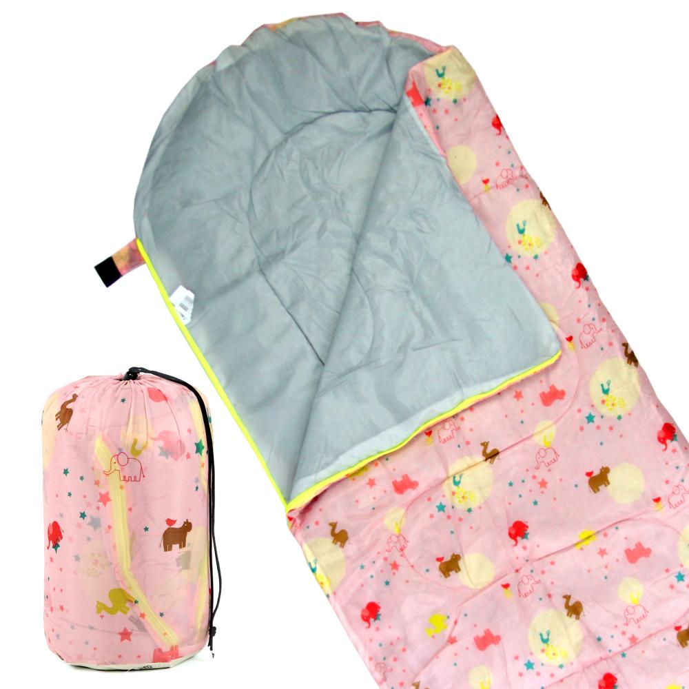 TreeWalker 高級柔軟舒適兒童捲筒睡袋(粉紅動物園)