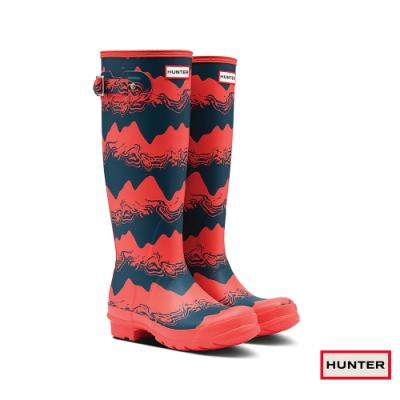 HUNTER - 女鞋-PLAY印花霧面長靴 - 紅黑