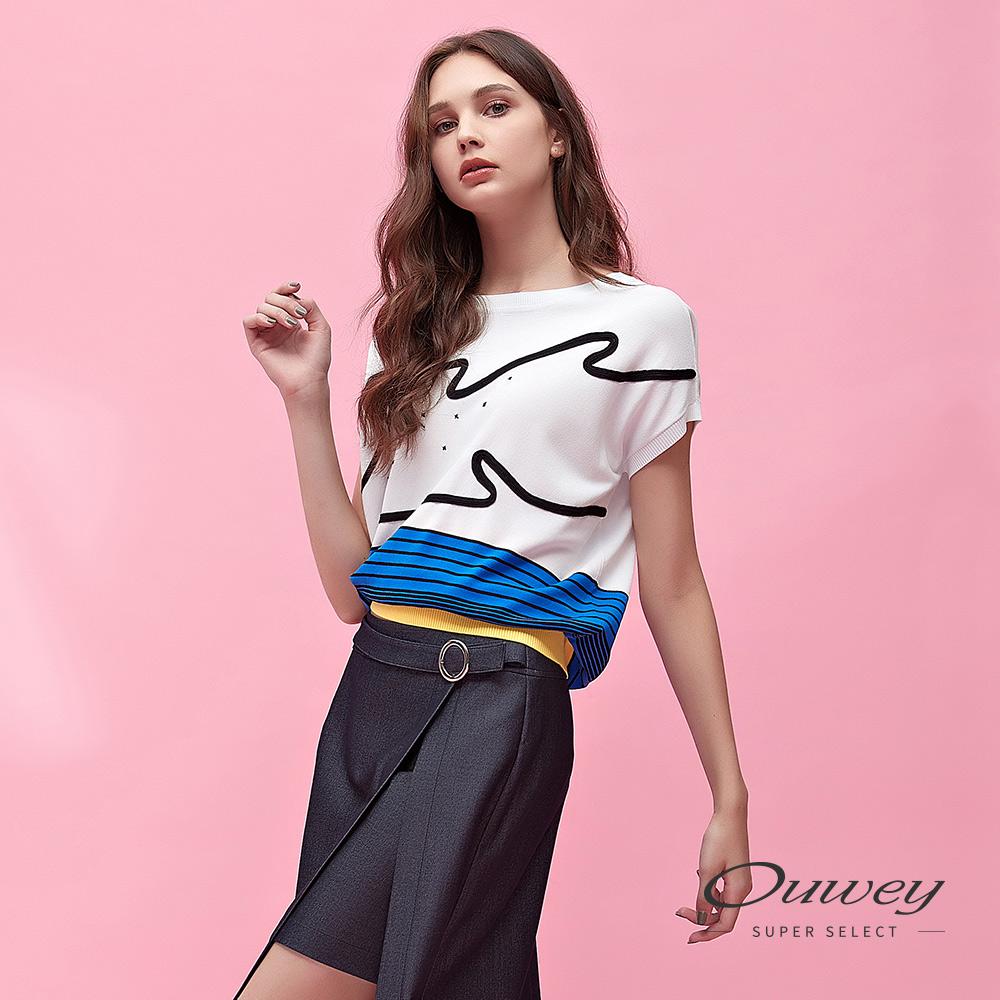 OUWEY歐薇 配色條紋寬版連袖針織上衣(白)