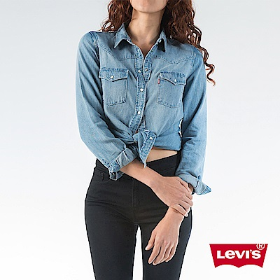 Levis 女款 牛仔襯衫 女裝 雙口袋 珍珠扣