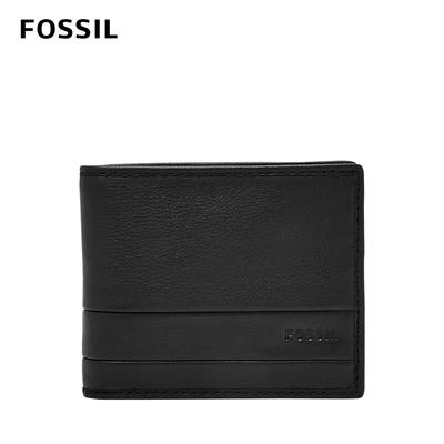 FOSSIL Lufkin 柔軟多卡兩折短夾-黑色 SML1392001