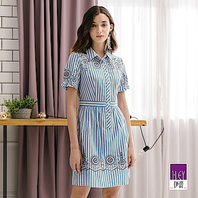 ILEY伊蕾 蕾絲條紋純棉印花洋裝(藍)